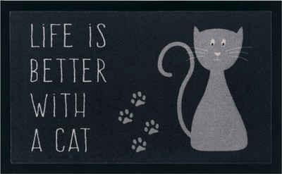Fußmatte »Katze«, my home, rechteckig, Höhe 5 mm, Schmutzfangmatte, mit Spruch