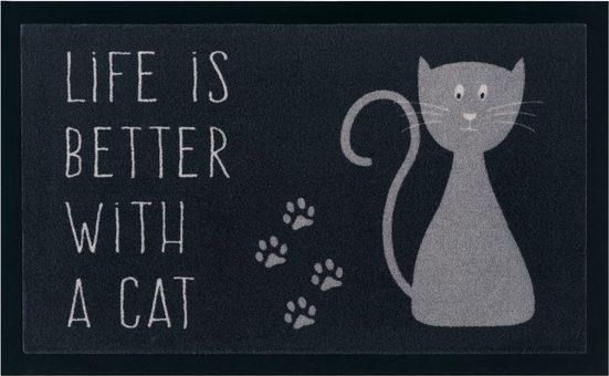 Fußmatte »Katze«, my home, rechteckig, Höhe 5 mm, mit Spruch