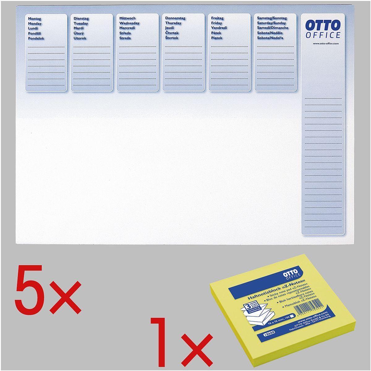 OTTOOFFICE STANDARD 5 Schreibunterlagen inkl. Haftnotizblock »Z-Notes« 1 Set