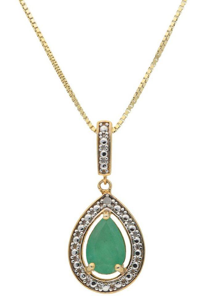 vivance jewels kette mit anh nger mit smaragd und diamant. Black Bedroom Furniture Sets. Home Design Ideas