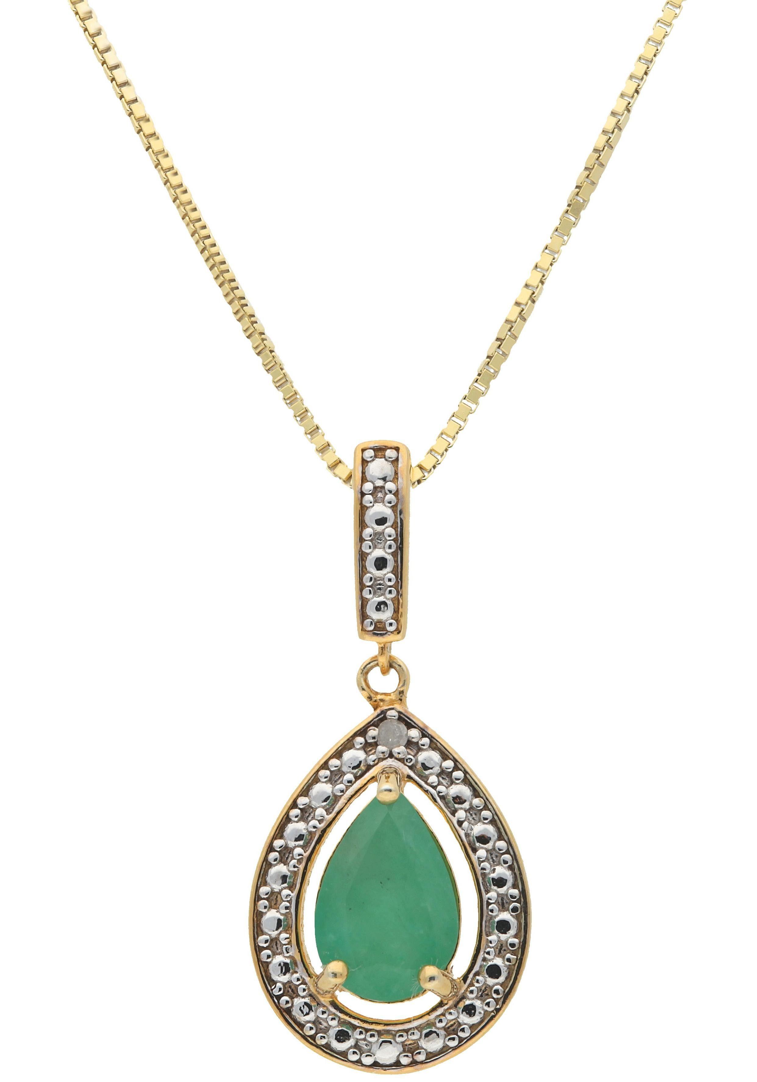 Vivance jewels Kette mit Anhänger mit Smaragd und Diamant