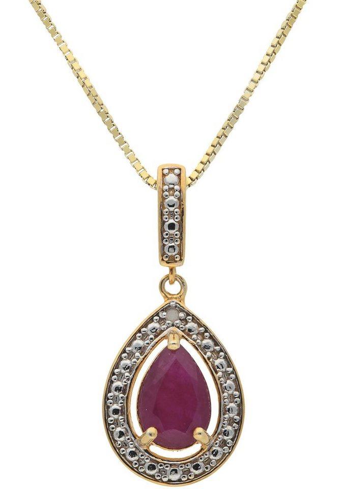 vivance jewels kette mit anh nger mit rubin und diamant. Black Bedroom Furniture Sets. Home Design Ideas