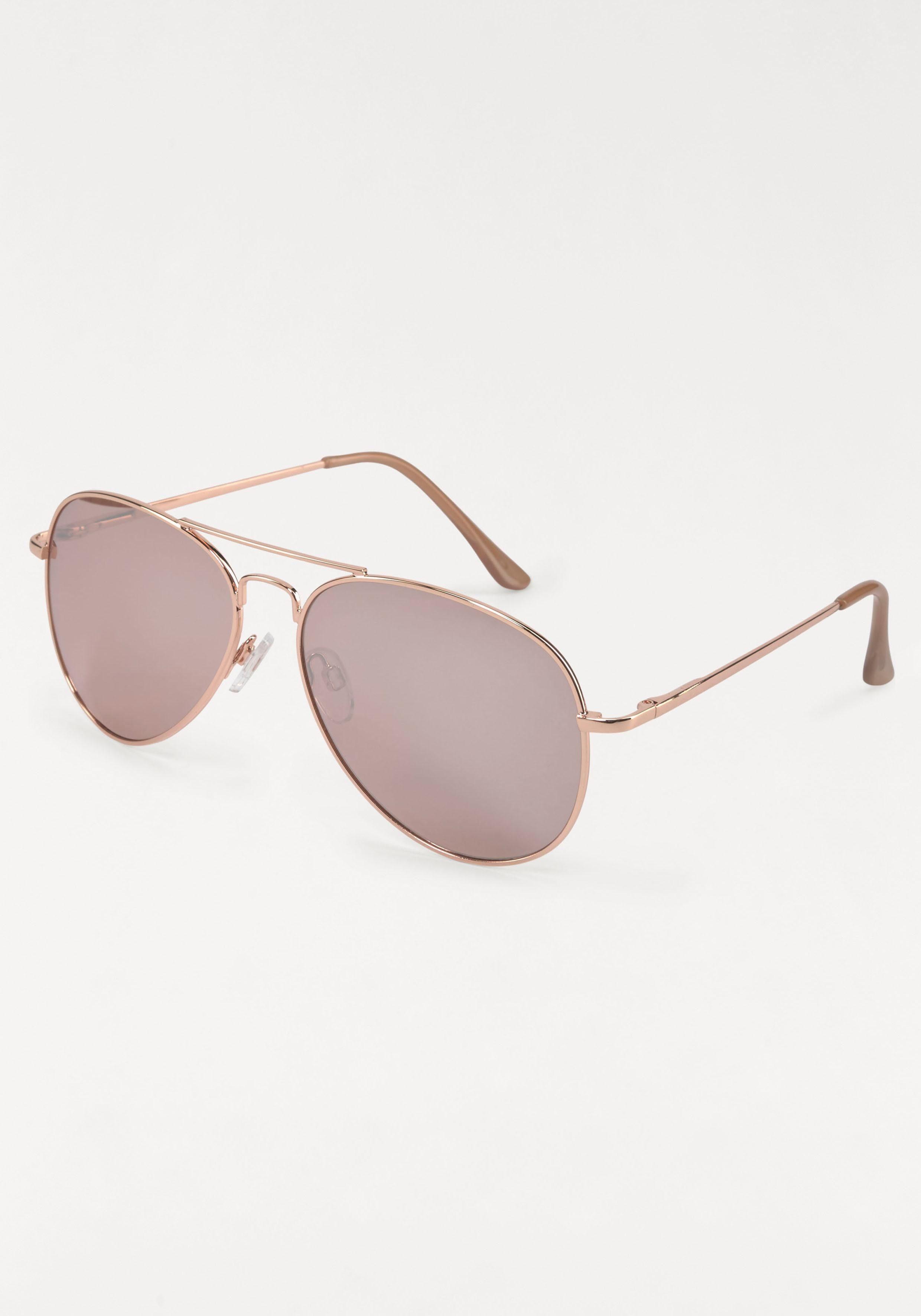 Sonnenbrille Fliegerbrille, Aviator Look, Pilotenform, Gläser verspiegelt