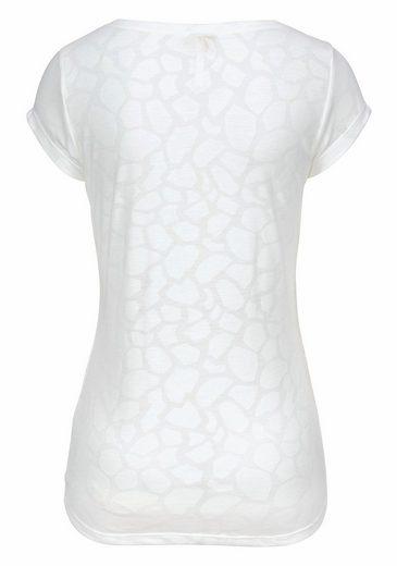 Key Largo V-Shirt AMY, mit Ausbrenner-Allover-Druck und Peace-Applikation