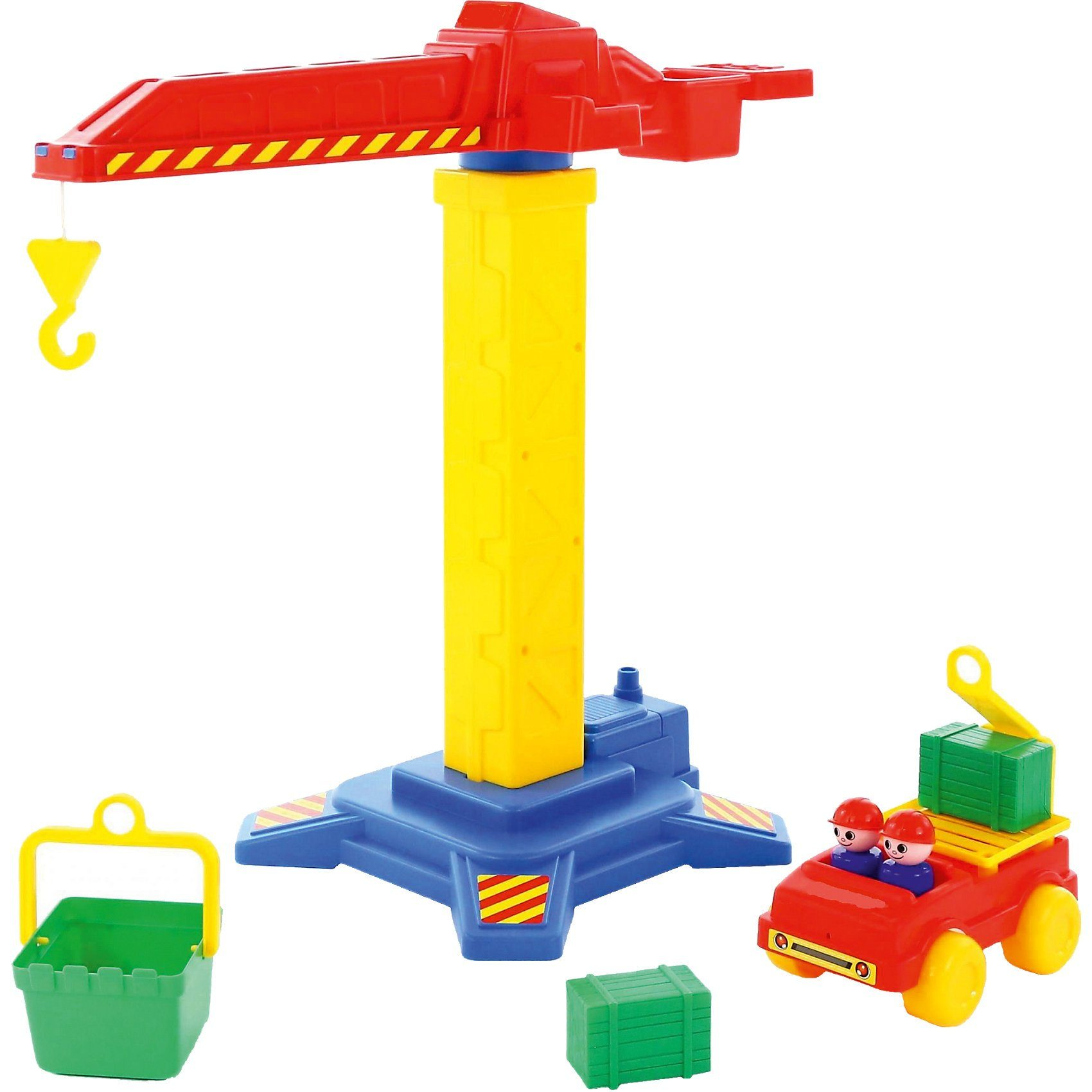 WADER QUALITY TOYS Baukranset mit Auto, 8-tlg.