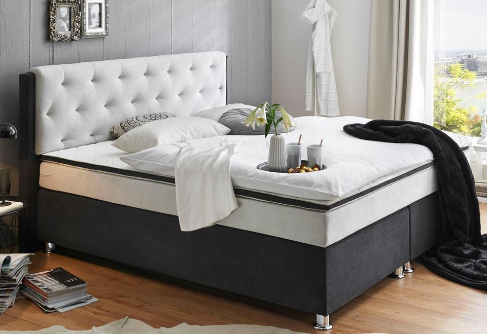 atlantic home collection boxspringbett mit topper otto. Black Bedroom Furniture Sets. Home Design Ideas