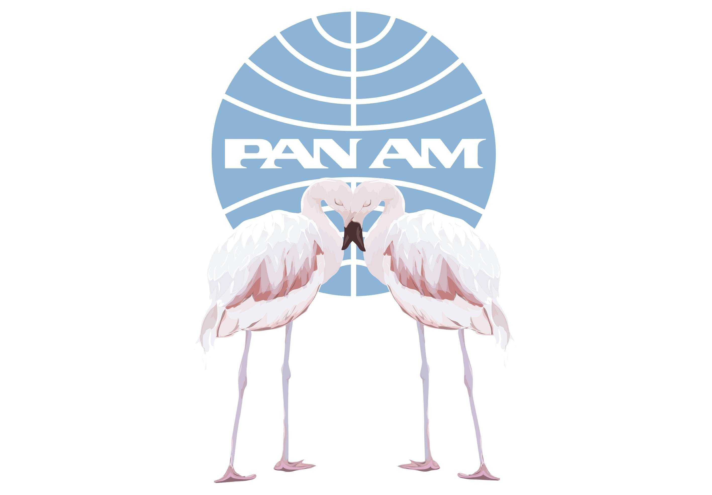 Wandtattoo, »PAN AM-Flamingos«, 40/59 cm