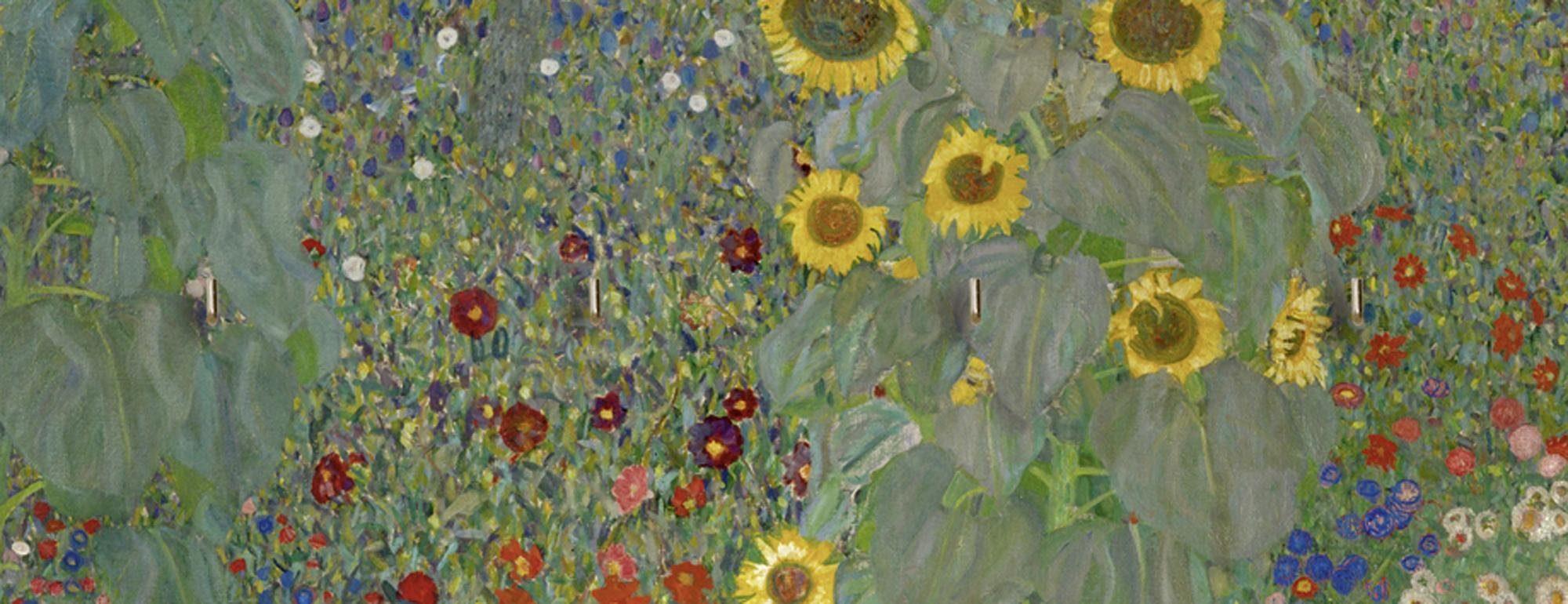 Home affaire Schlüsselbrett »Klimt, G.: Garten mit Sonnenblumen«, 40/14,8 cm