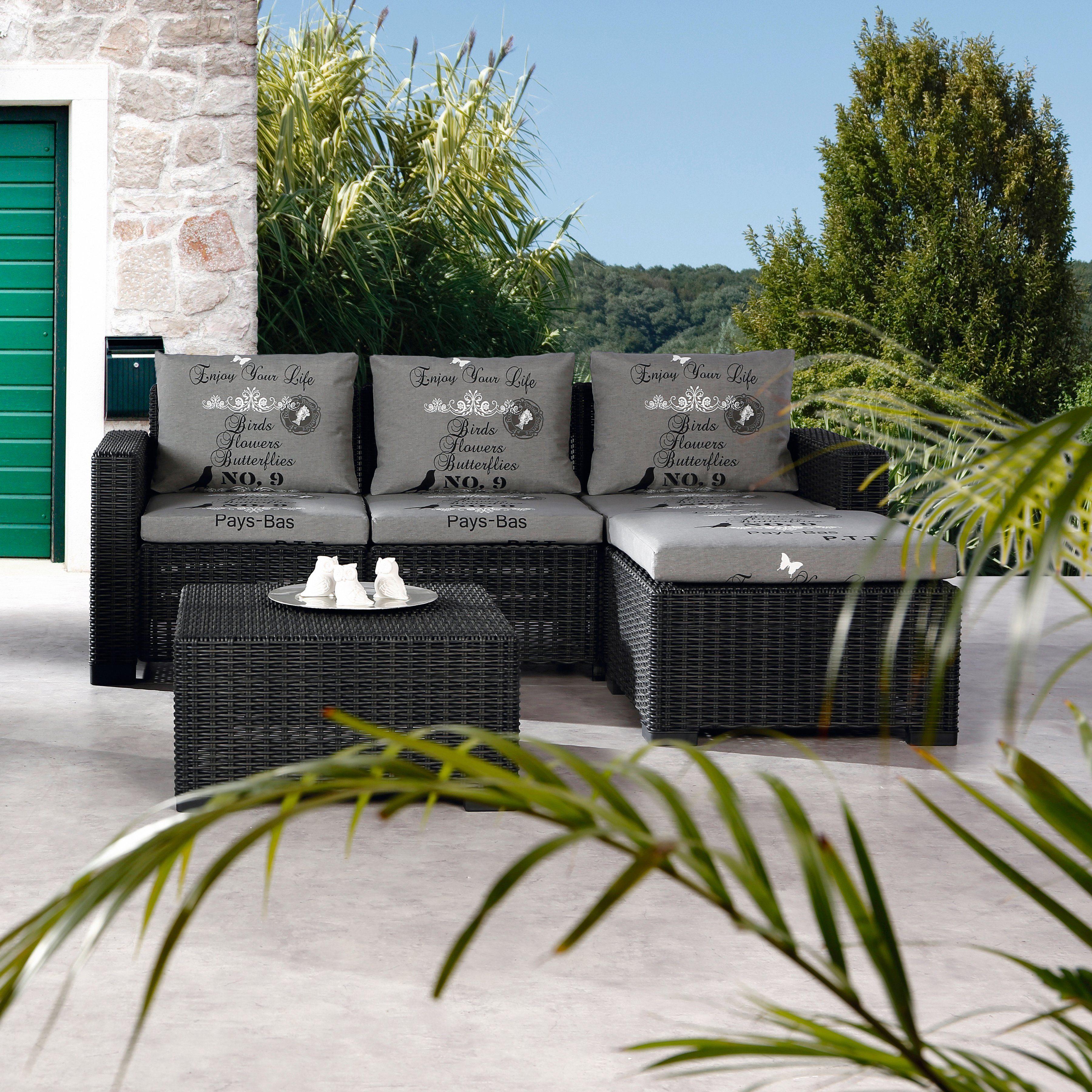 BEST Loungeset »Kenia«, 10-tlg., 3er-Sofa, Fußhocker, Tisch, Kunststoff, anthrazit
