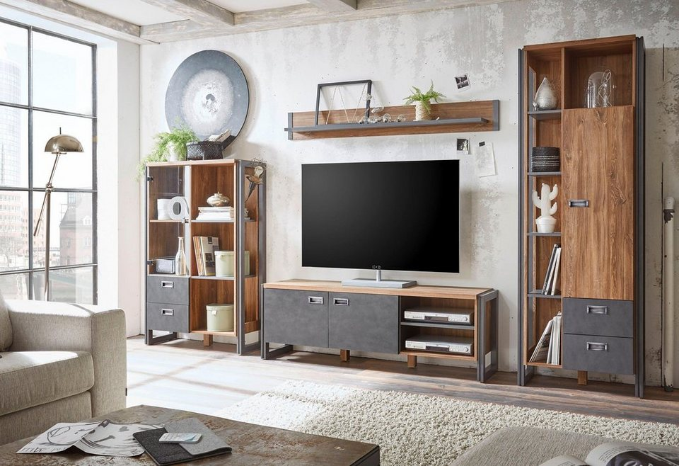 home affaire 4 teilige wohnwand detroit set 3 im angesagten industrial look online kaufen otto. Black Bedroom Furniture Sets. Home Design Ideas