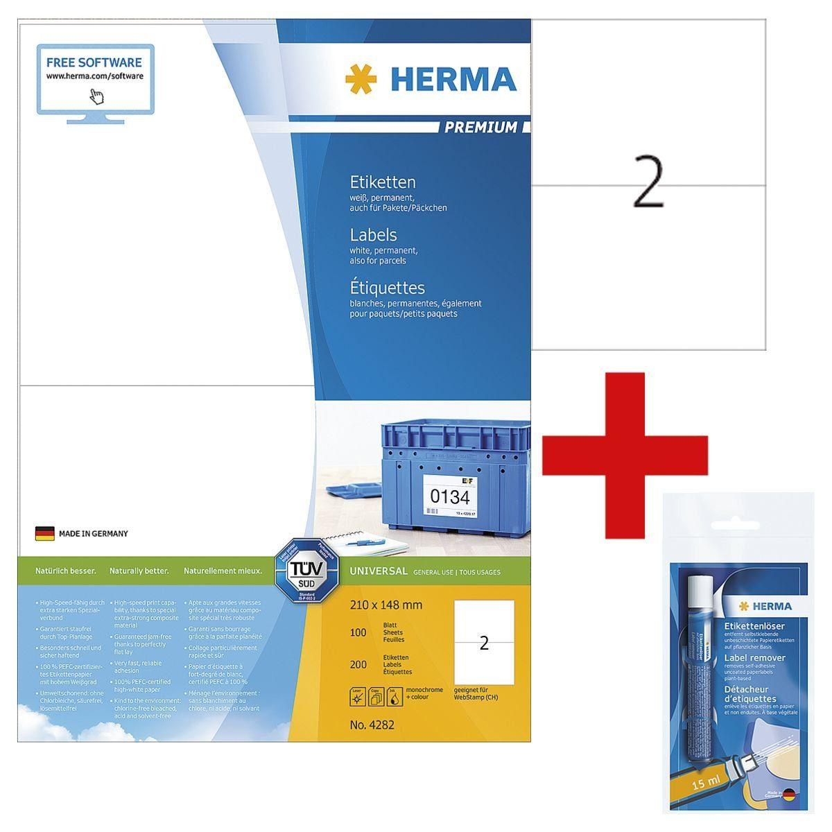 HERMA 200er-Pack Universal-Klebeetiketten inkl. Etikettenlöser... »4282« 1 Set