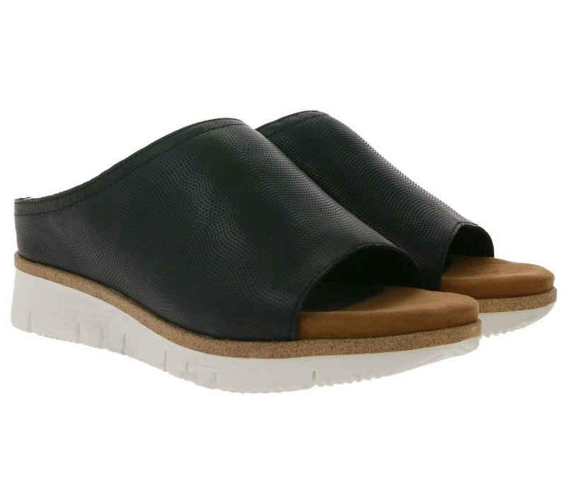 MARCO TOZZI »MARCO TOZZI Echtleder-Pantolette zeitlose Damen Plateau-Hausschuhe Sommer-Schuhe Schwarz« Pantolette