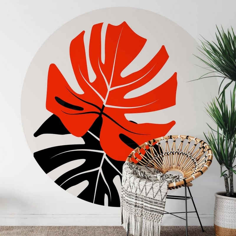 K&L Wall Art Fototapete »Runde Fototapete Kubistika Monstera Tapete Dschungel Vliestapete Schlafzimmer«, Monstera-Duett