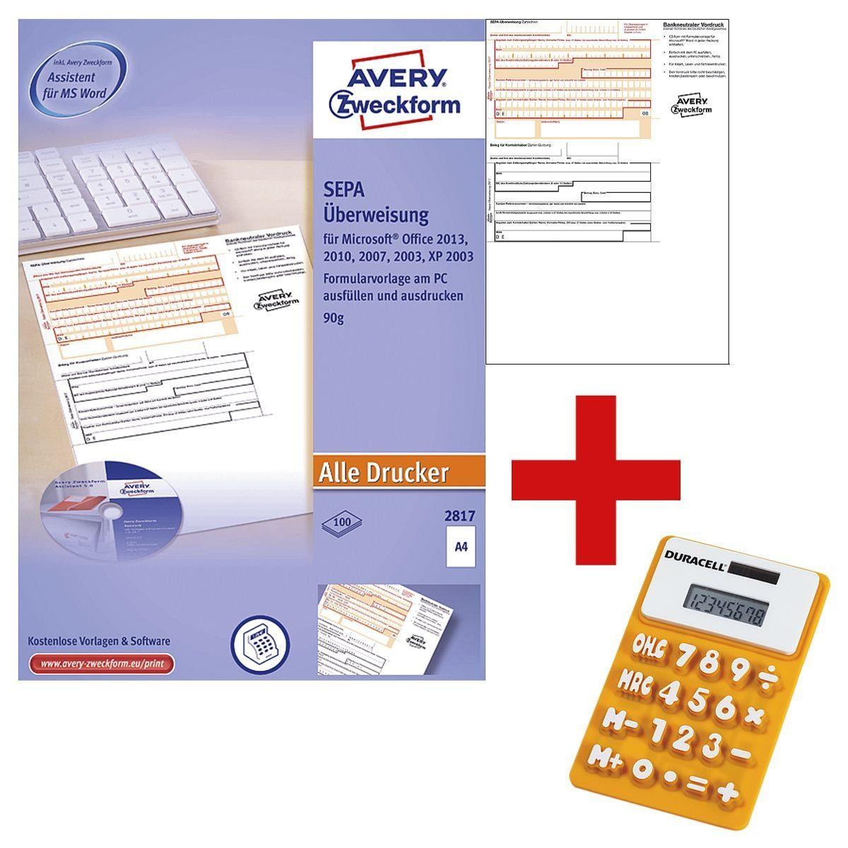 ZWECKFORMAVERY Formularvord... »SEPA-Überweisung/Zahlschein inkl. Software« 1 Set