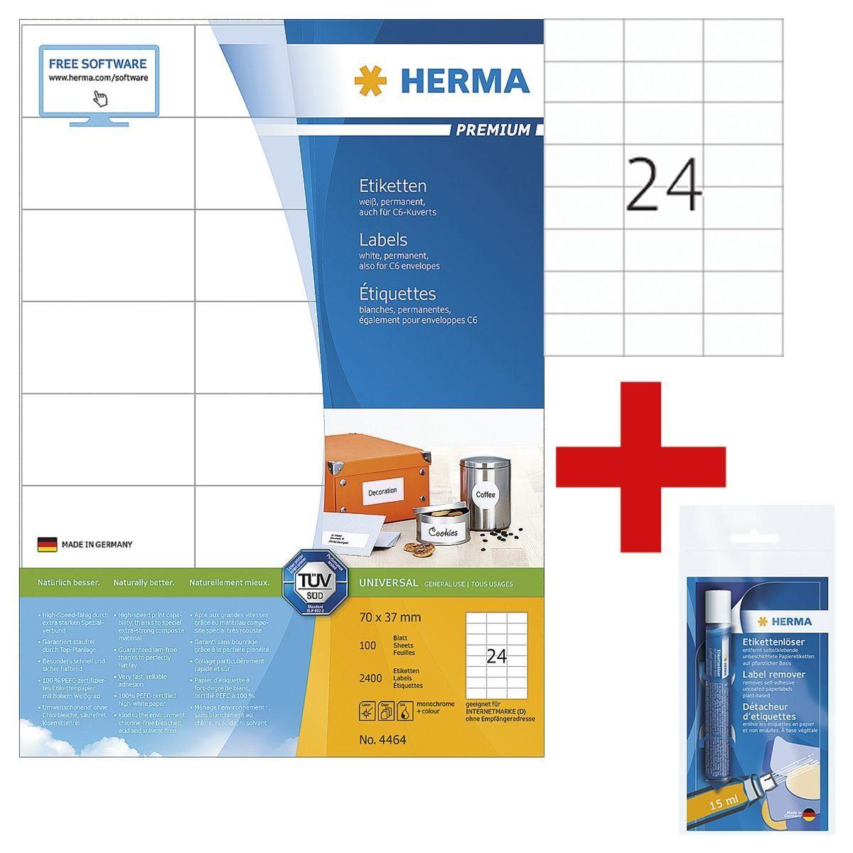 HERMA 2400er-Set Universal-Klebeetiketten inkl. Etikettenlöser... »4464« 1 Set