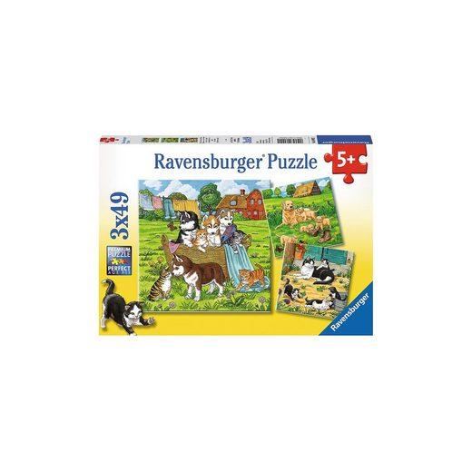 Ravensburger 3er Set Puzzle, je 49 Teile, 21x21 cm, Süße Katzen und Hunde