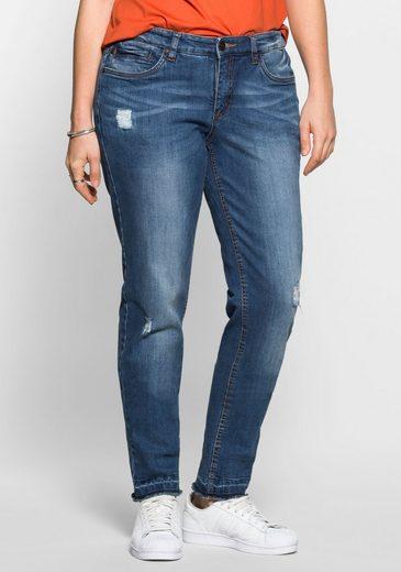 sheego Denim Stretch-Jeans, Fransen am Saum