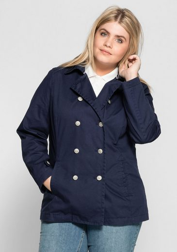 Sheego Casual Pea Coat, Embossed Metal Buttons