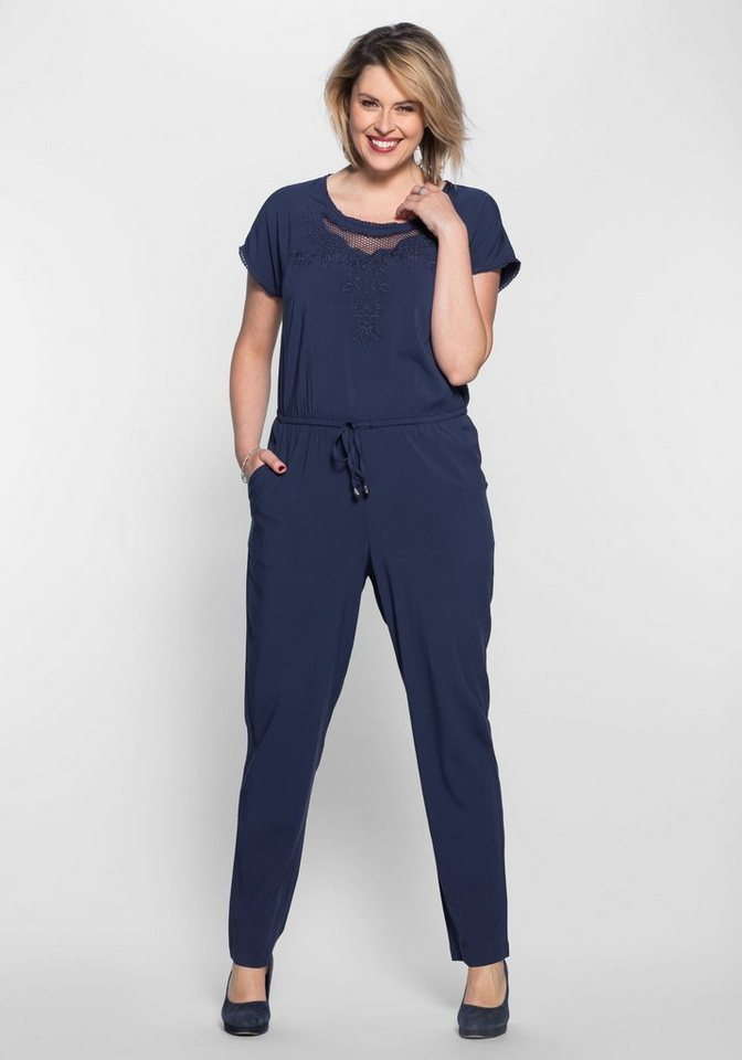 sheego style jumpsuit gummizug mit bindeband in der. Black Bedroom Furniture Sets. Home Design Ideas