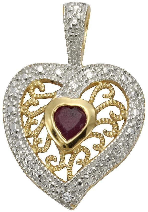 Firetti Kettenanhänger »Herz« mit Diamant und Rubin
