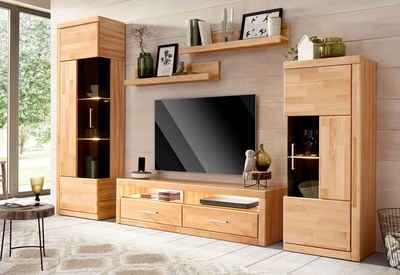 Wohnwand echtholz dunkel  Massivholz Wohnwand kaufen » Holz & Holzoptik | OTTO