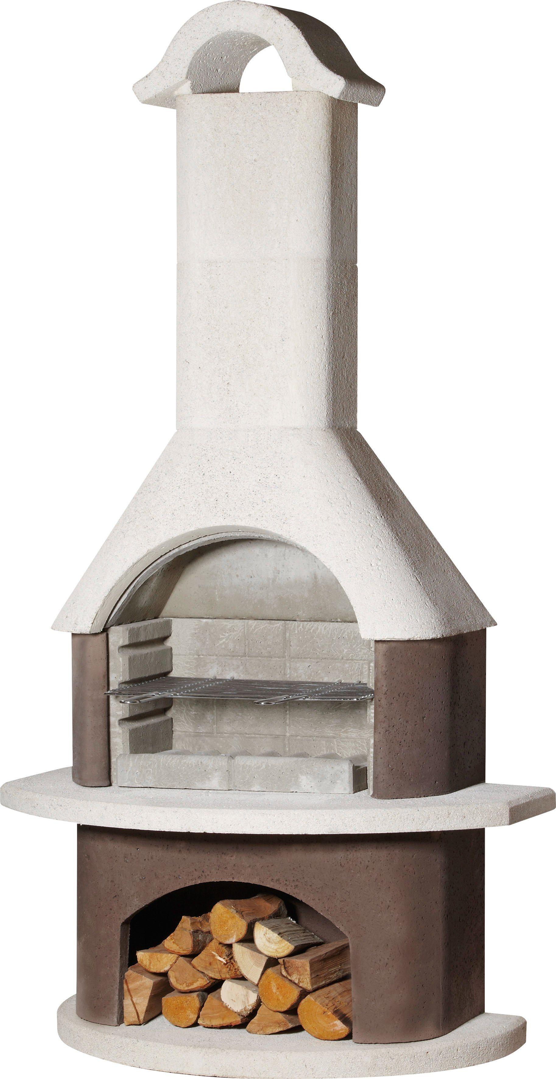 Grillkamin »Athen«, B/T/H: 110/65/210 cm, weiß/braun