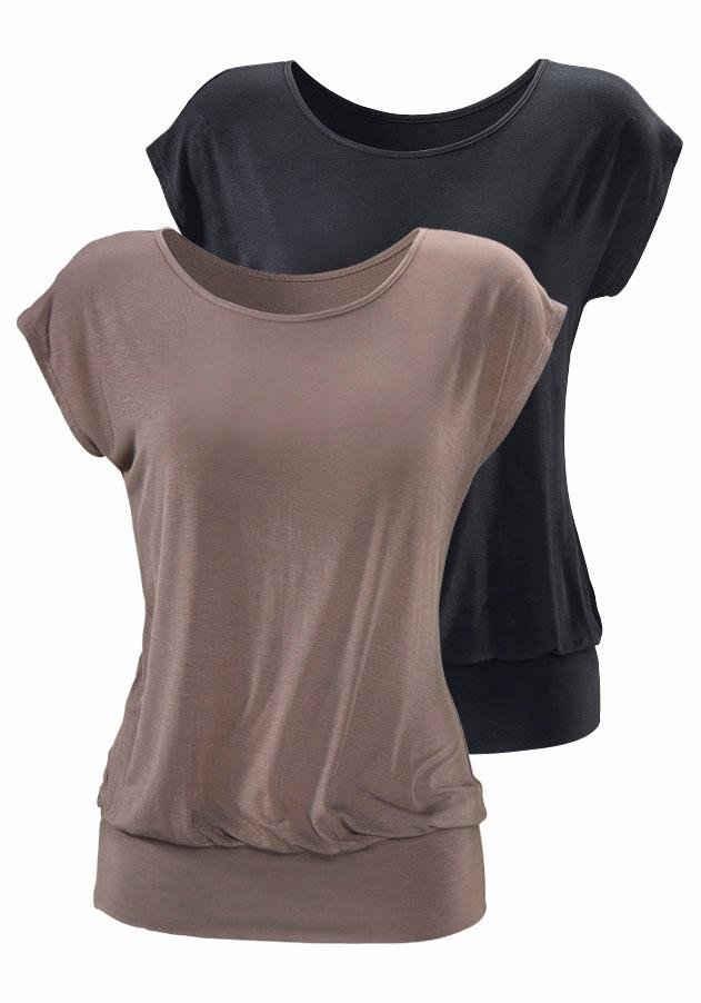 LASCANA Longshirt (2er-Pack) mit breitem Bund