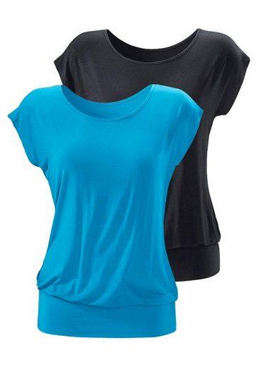 LASCANA Longshirts (2 Stück) mit breitem Bund