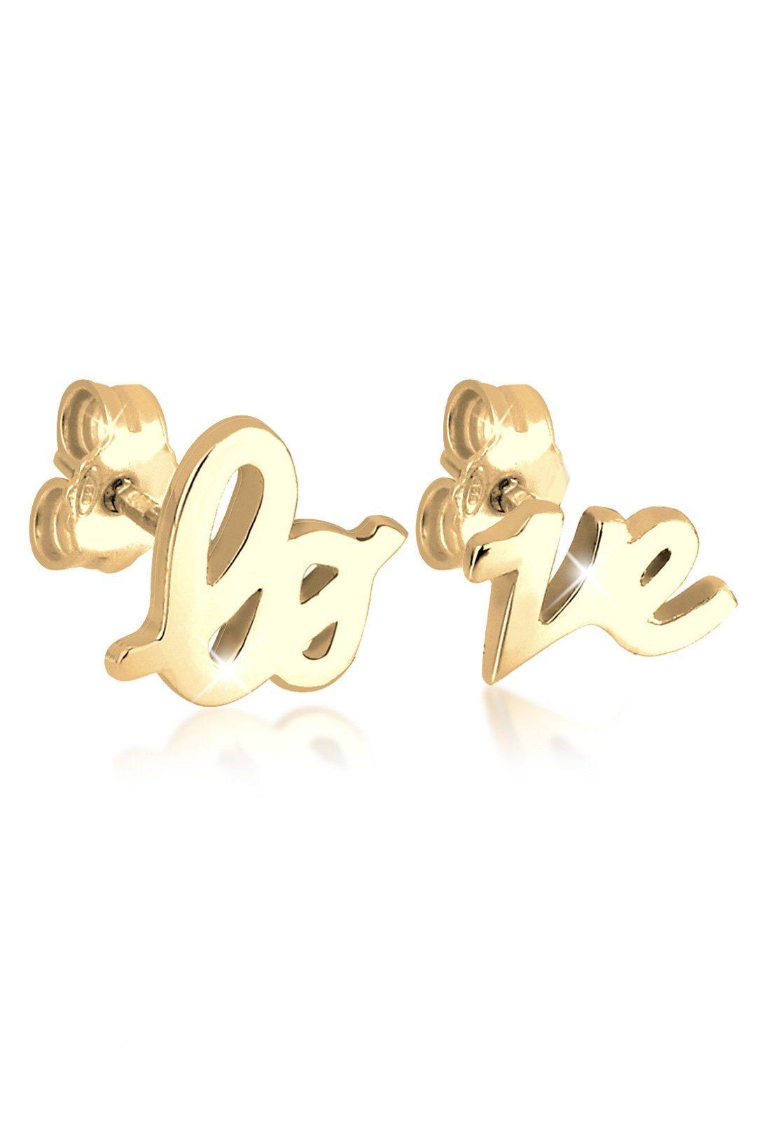 Elli Ohrringe »Love Statement Schriftzug Liebe Filigran vergoldet«