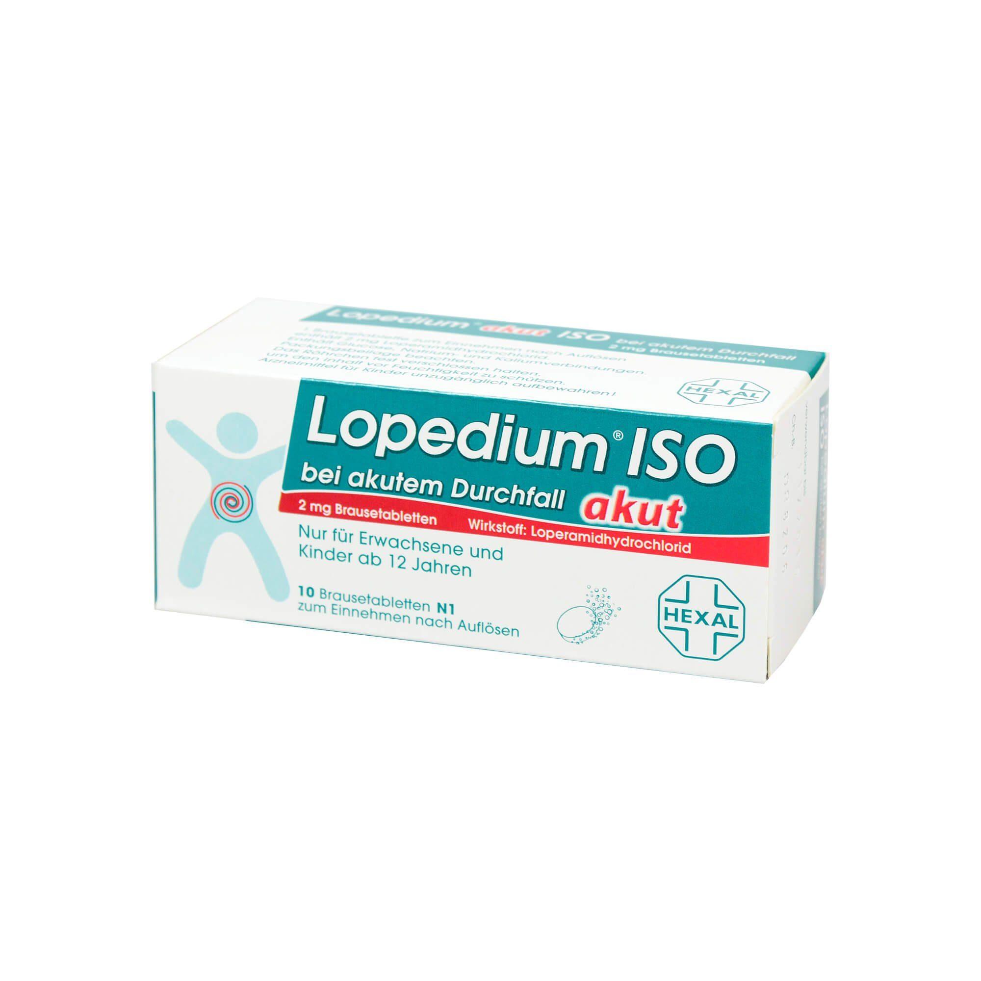 Lopedium akut ISO bei akutem Durchfall Brausetabletten , 10 St