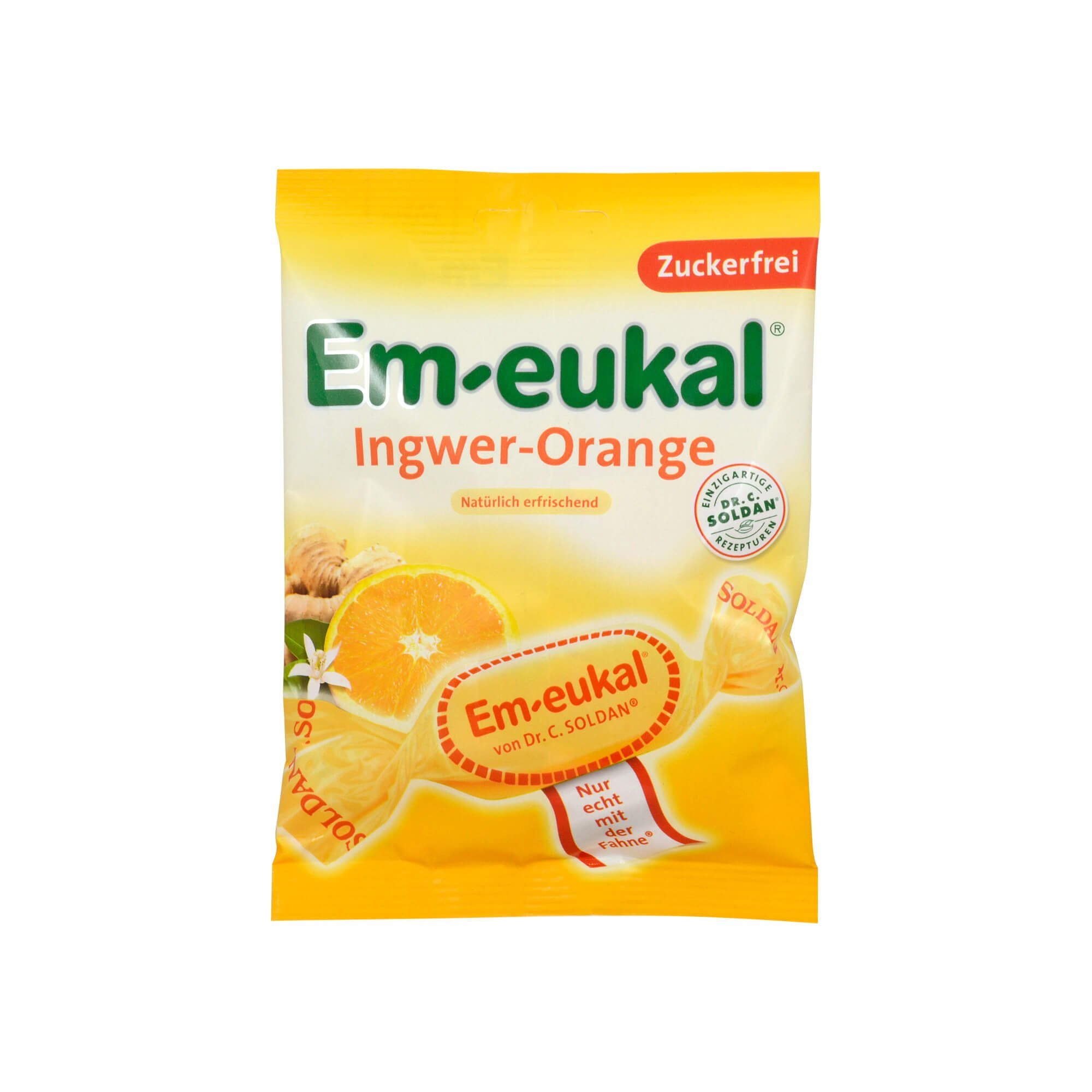 Em Eukal Bonbons Ingwer-Orange zuckerfrei , 75 g