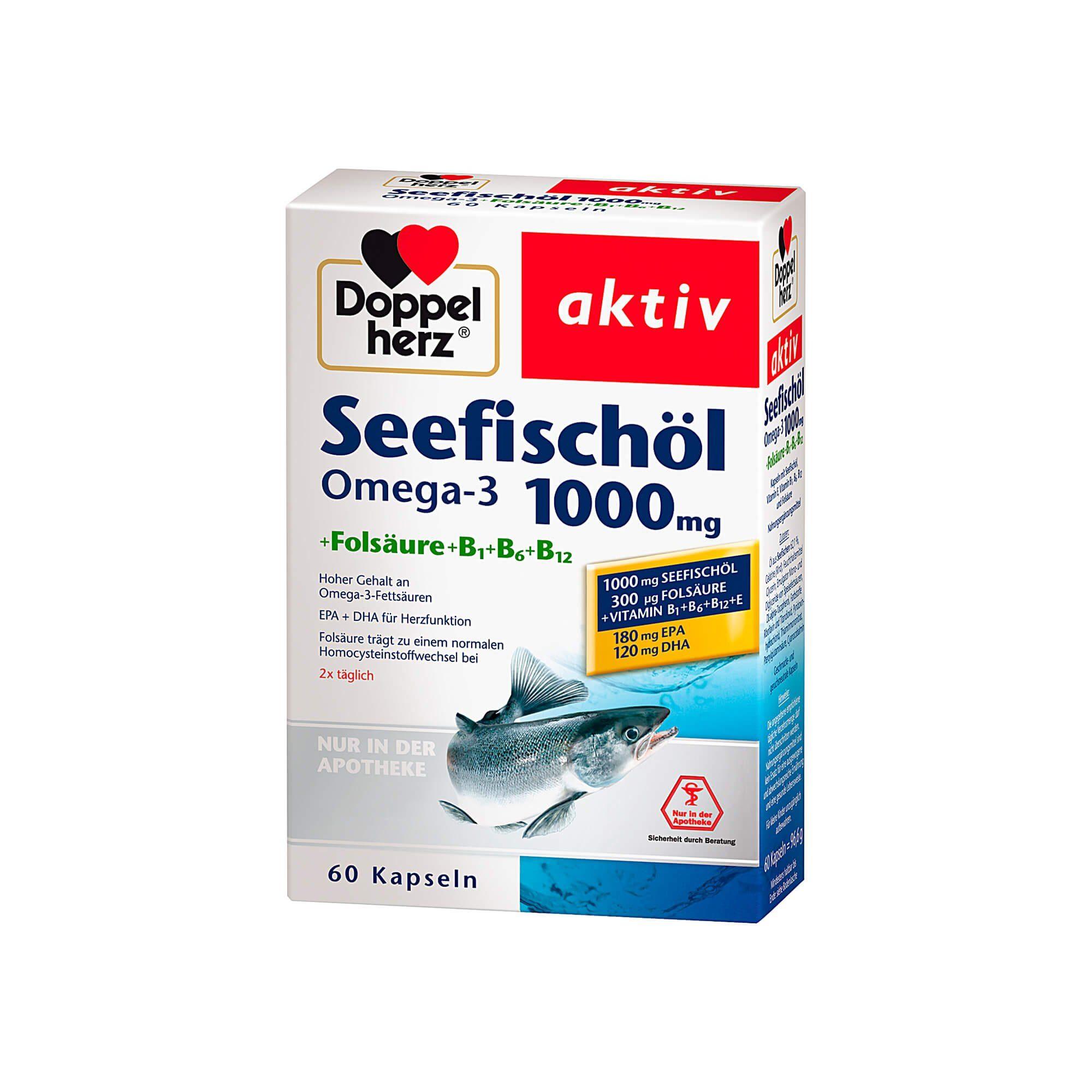 Doppelherz Seefischöl Omega-3 1000 mg aktiv , 60 St