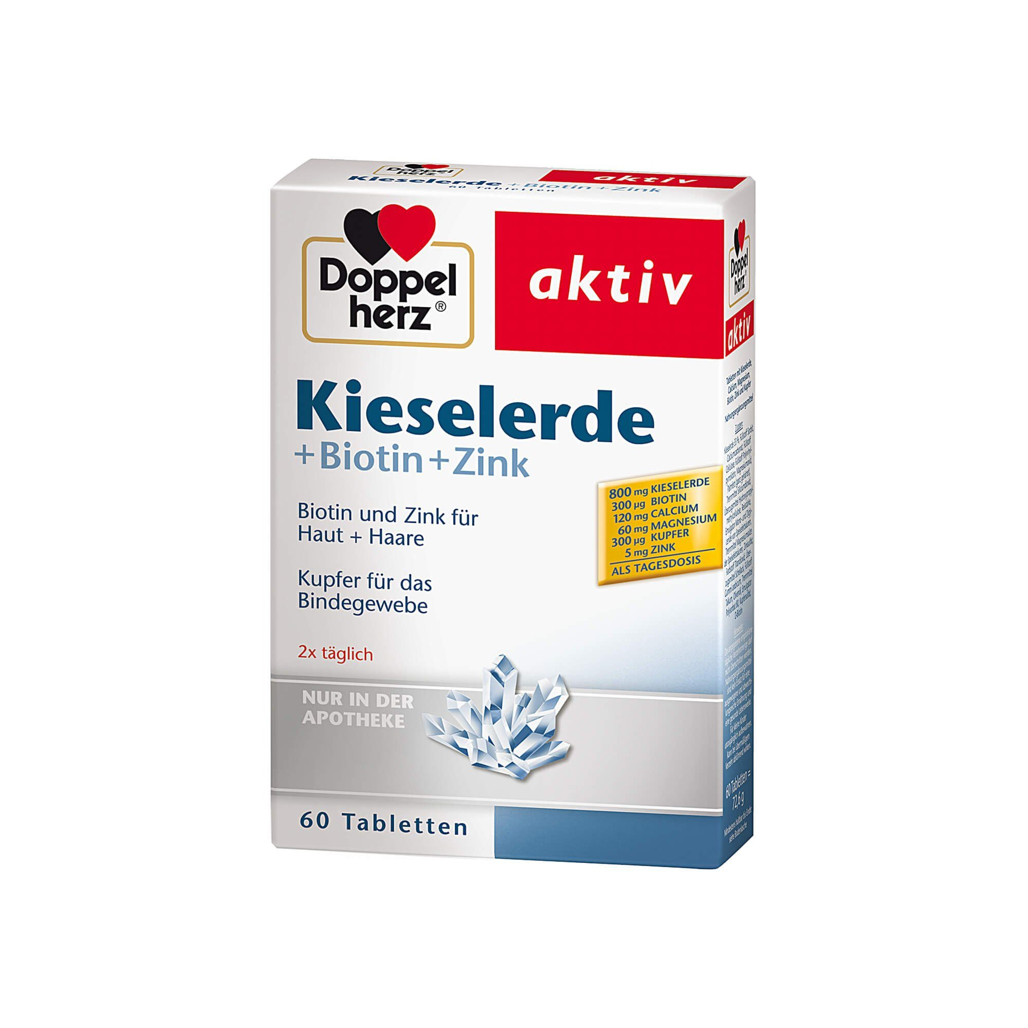 Doppelherz Kieselerde + Biotin + Zink aktiv , 60 St