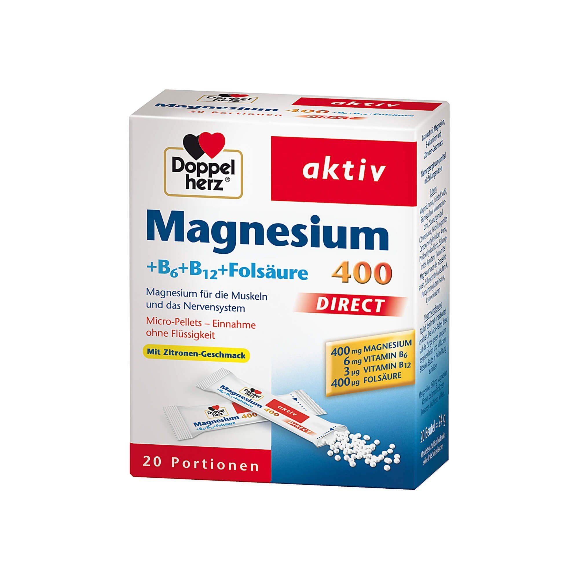 Doppelherz Magnesium + B6 + B12 + Folsäure 400 aktiv , 20 St