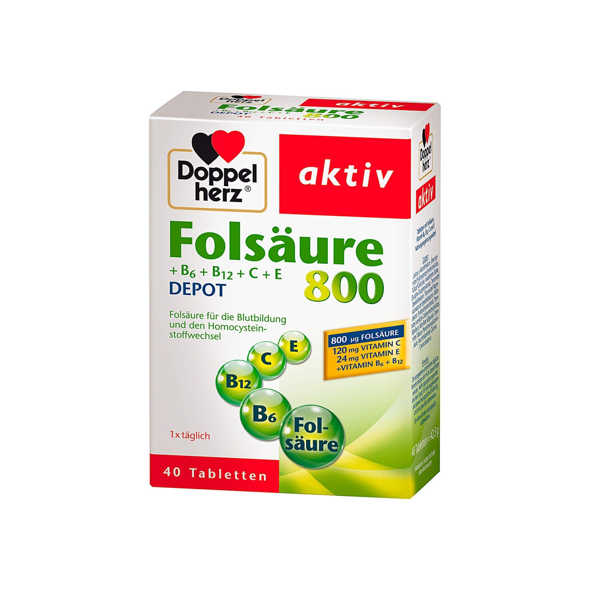 Doppelherz Folsäure 800 + B6 + B12 + C + E Depot aktiv , 40 St