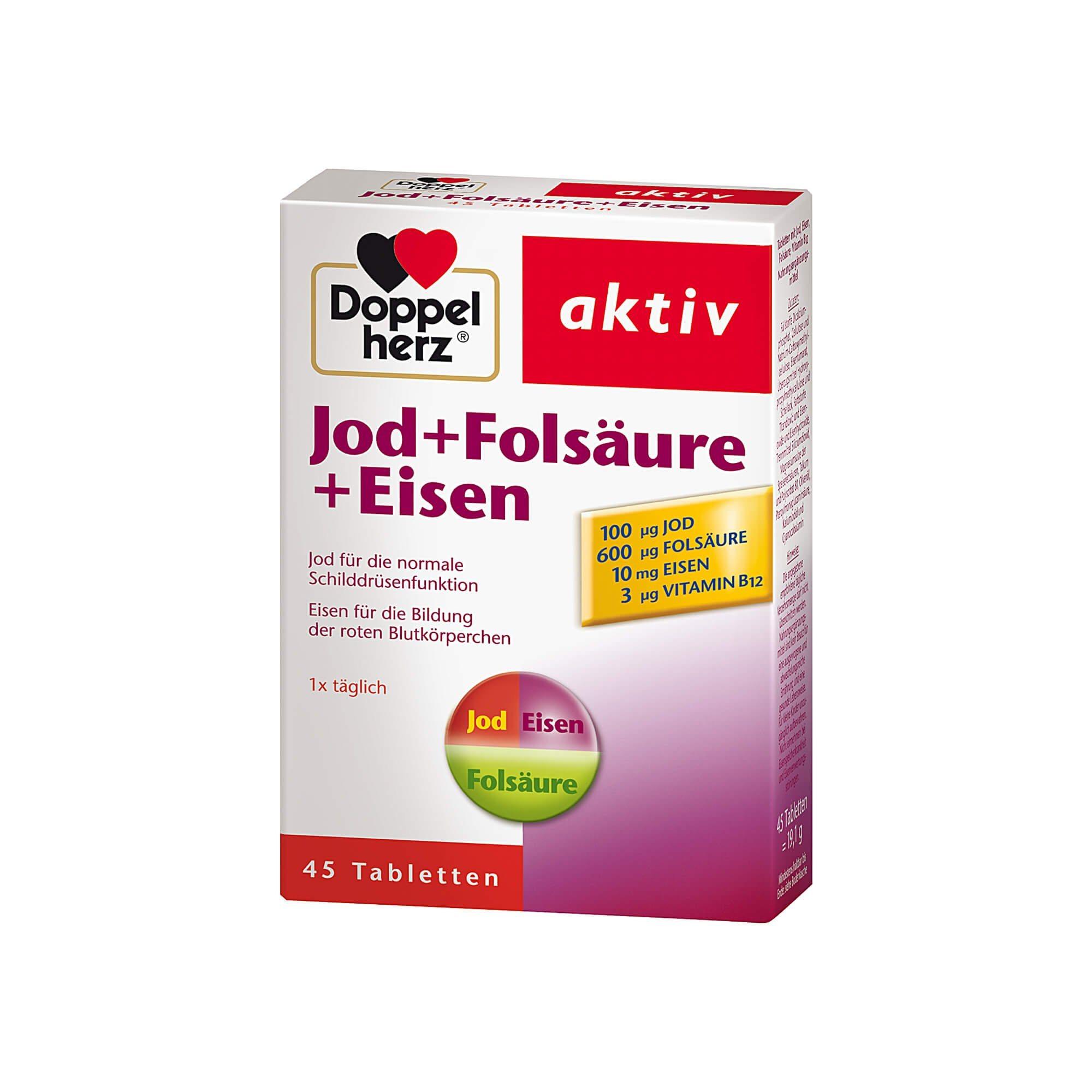 Doppelherz Jod + Folsäure + Eisen aktiv , 45 St