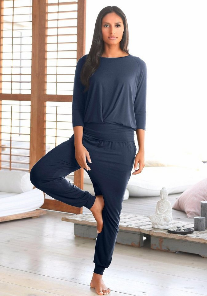 LASCANA Yoga & Relax Shirt mit breitem Bund | Sportbekleidung > Sportshirts > Yogashirts | Blau | Lascana