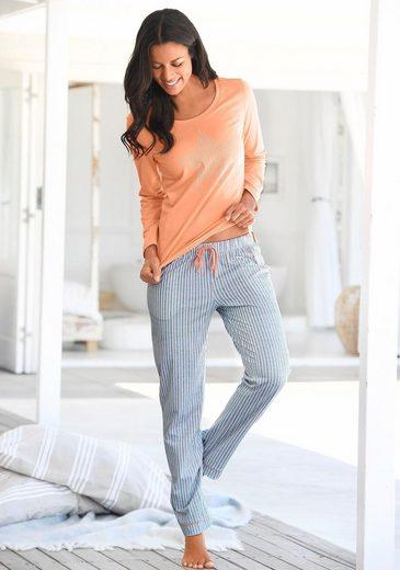Vivance Dreams Pyjama mit längsgestreifter Hose