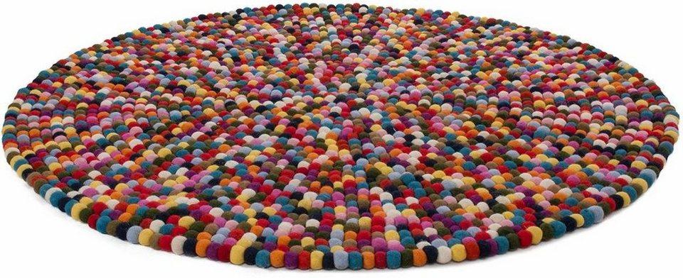Teppich rund bunt  Filzkugel-Teppich, rund, Obsession, »Passion«, Höhe 25 mm ...