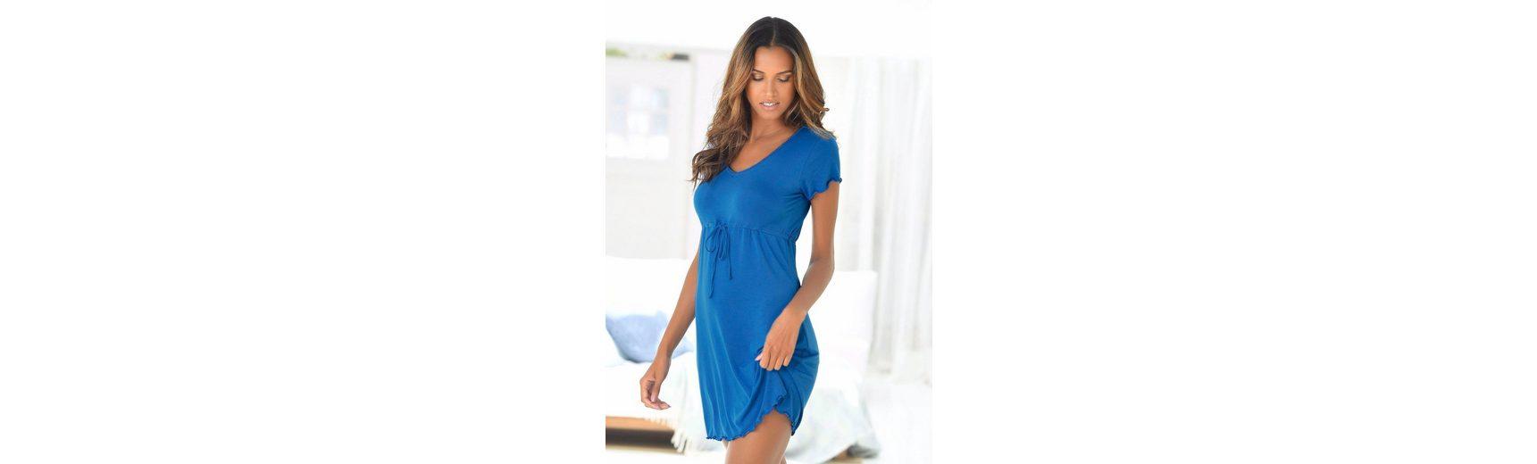 LASCANA Nachthemd mit Taillenband und Kräuselsäumen Billig Kaufen Bester Großhandelsverkauf Online Billig 2018 Neu Verkauf Geschäft eXwhCL
