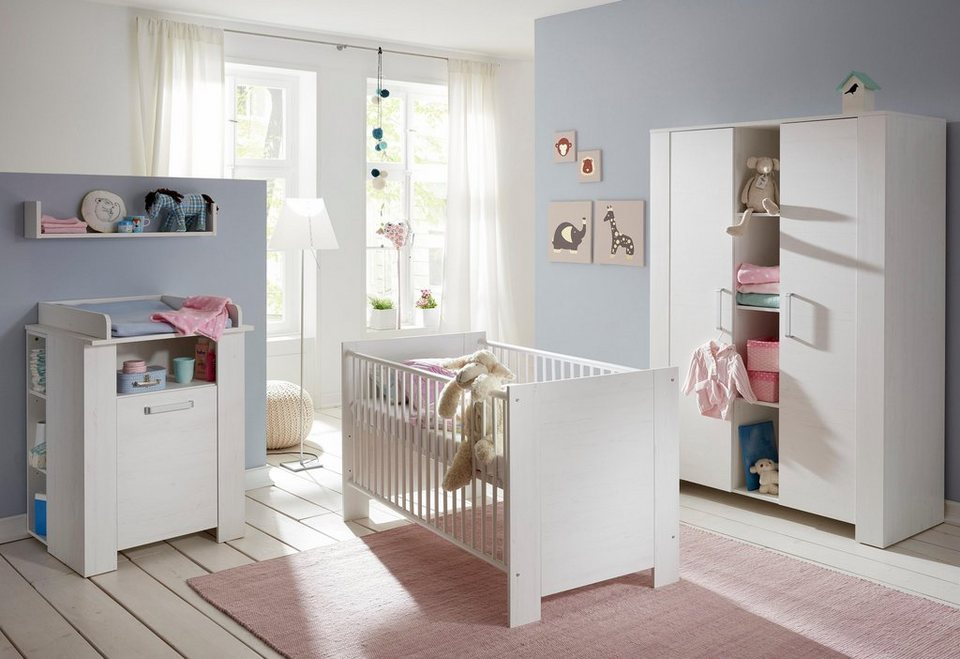komplett babyzimmer oslo babybett wickelkommode breiter kleiderschrank 3 tlg in pinie. Black Bedroom Furniture Sets. Home Design Ideas