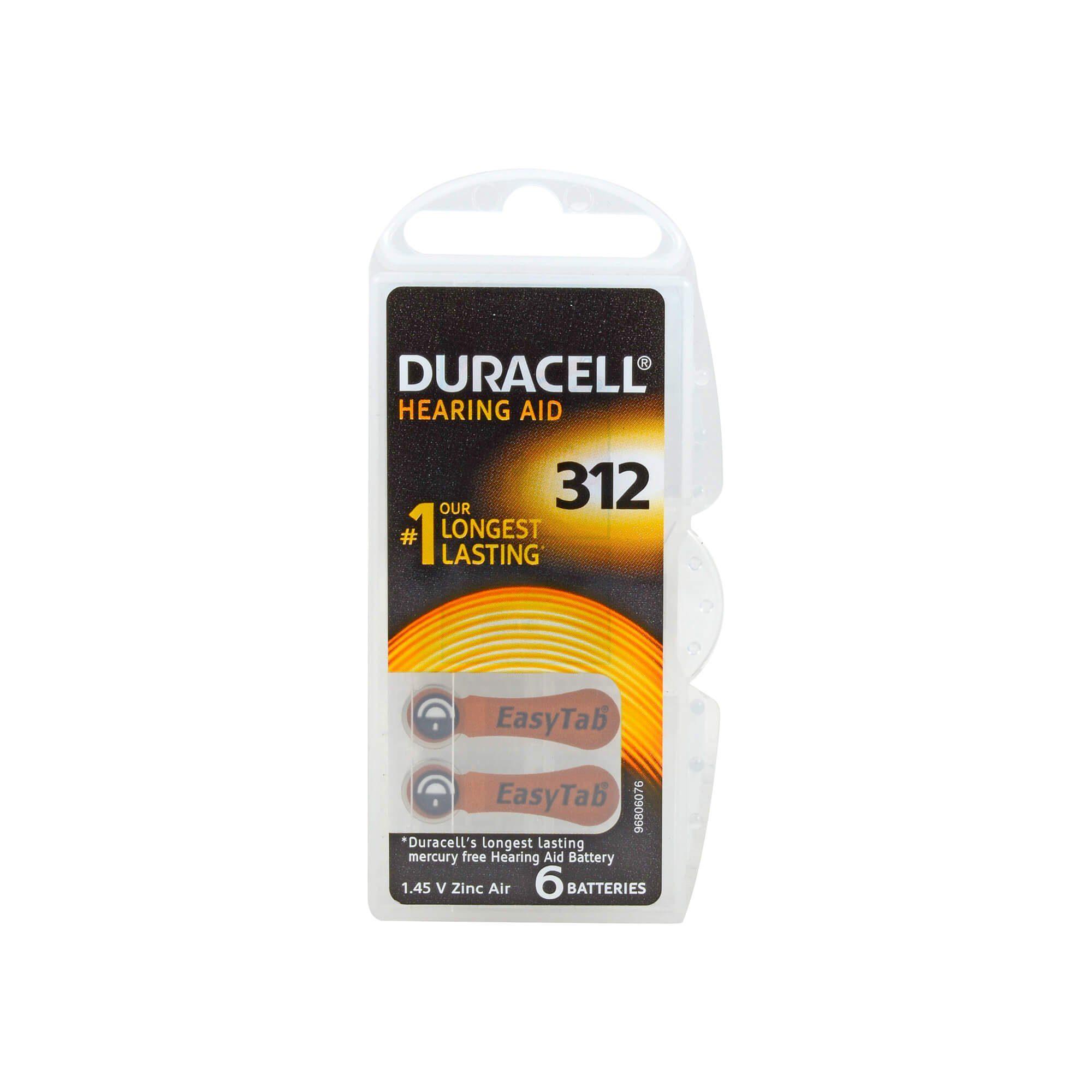 Duracell Hörgerätebatterien mit EasyTab 312 PR41 , 6 St
