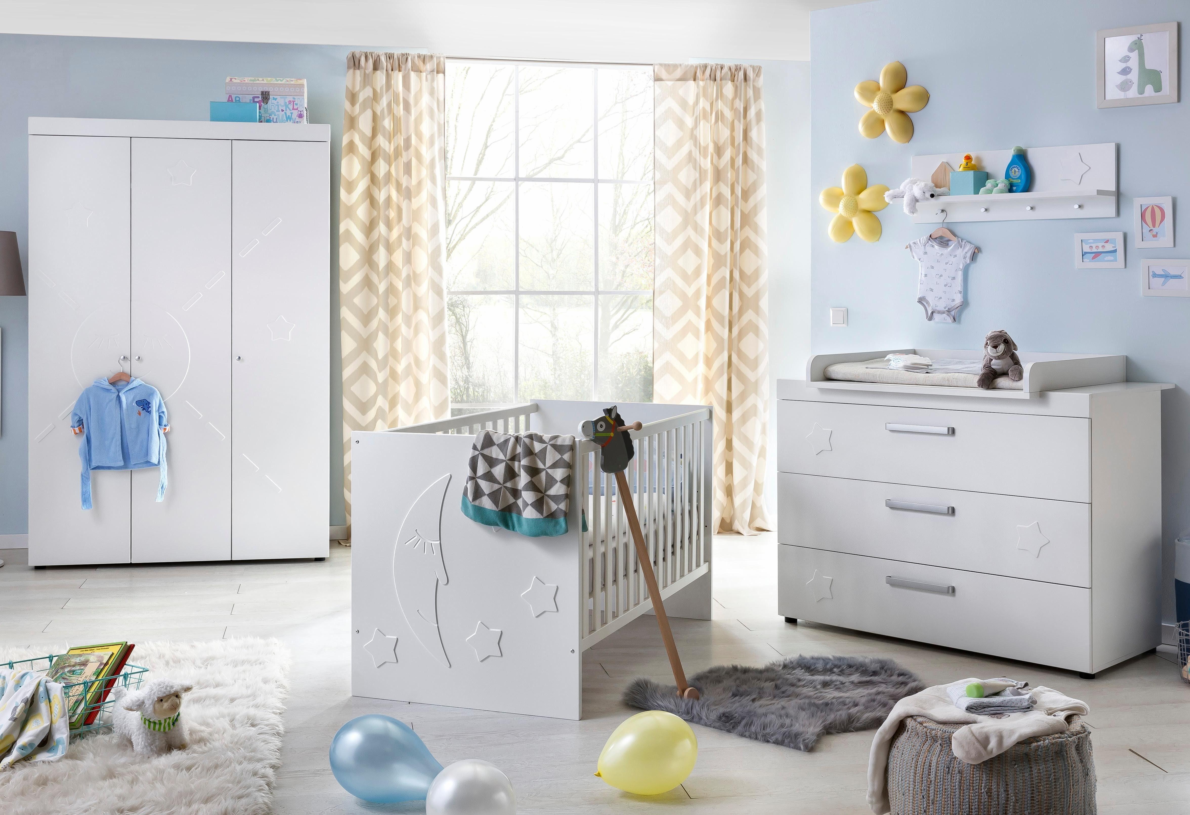 Komplett Babyzimmer »Basel« Babybett + Wickelkommode + Kleiderschrank, (3-tlg.), in weiß matt