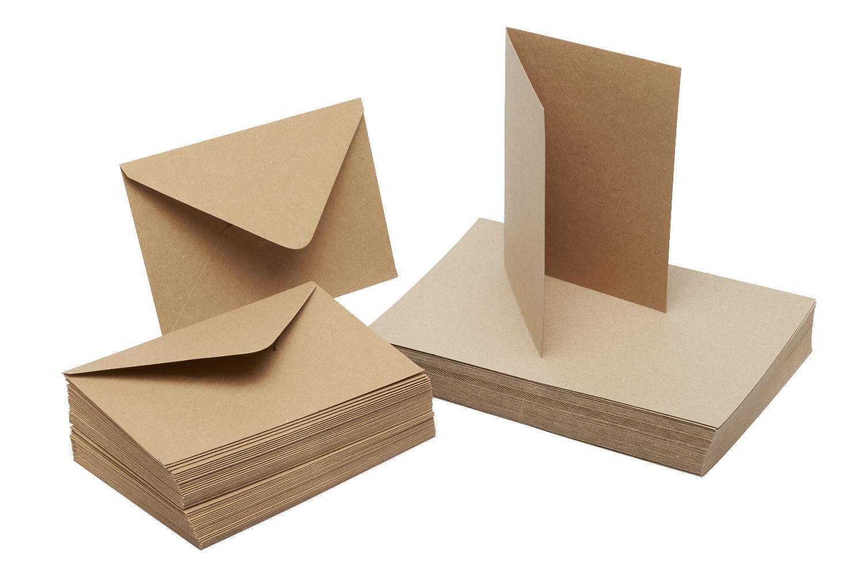 """Doppelkarten und Umschlag """"Kraftpapier"""" 18 x 13 cm je 50 Stück"""