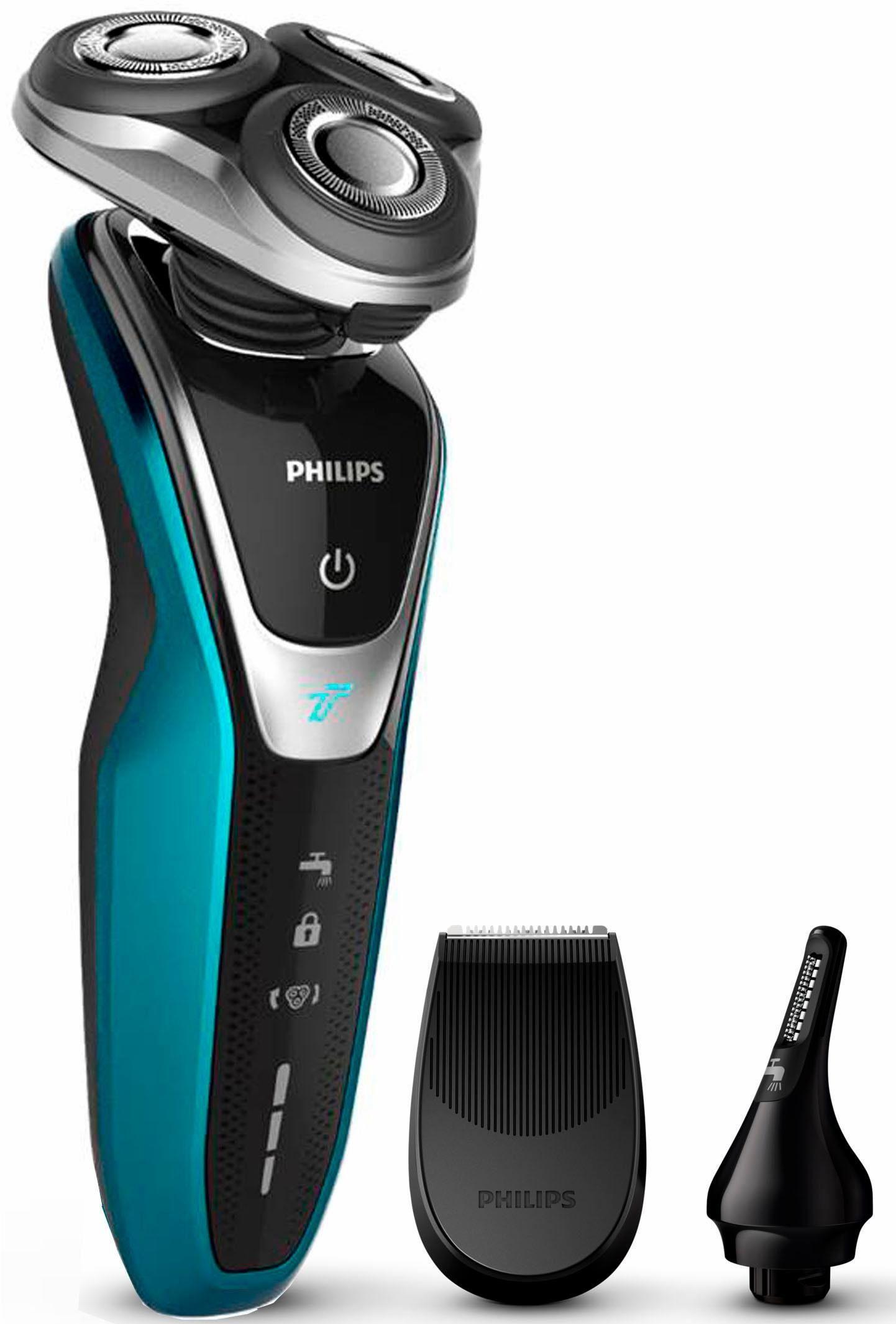 Philips Elektrorasierer Series 5000 S5550/44, Aufsätze: 2, Langhaartrimmer, mit Präzisions- u. Nasenhaartrimmer, AquaTouch Wet&Dry, Akku