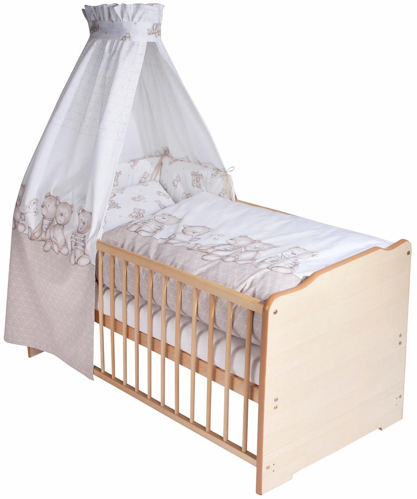 Zöllner 7-tlg. Komplettbett, Babybett+ Matratze+ Himmelstange+ Himmel+ Nestchen+ Bettwäsche