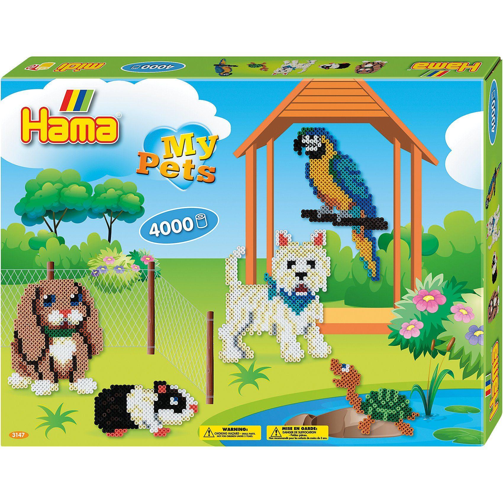 Hama Perlen HAMA 3147 Geschenkset Haustiere, 4.000 midi-Perlen & Zubehör