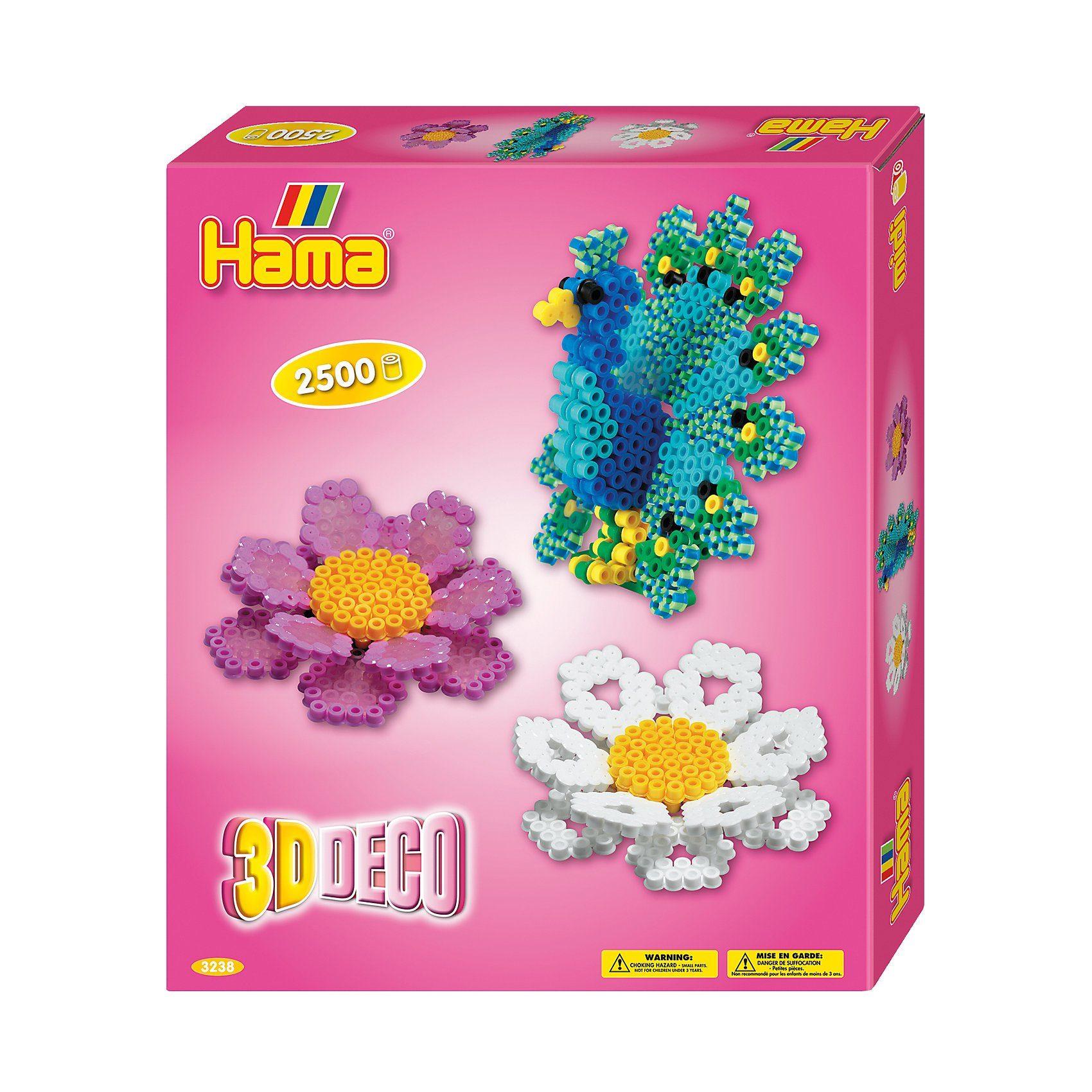 Hama Perlen HAMA 3238 Geschenkset 3D-Deko, 2.500 midi-Perlen & Zubehör