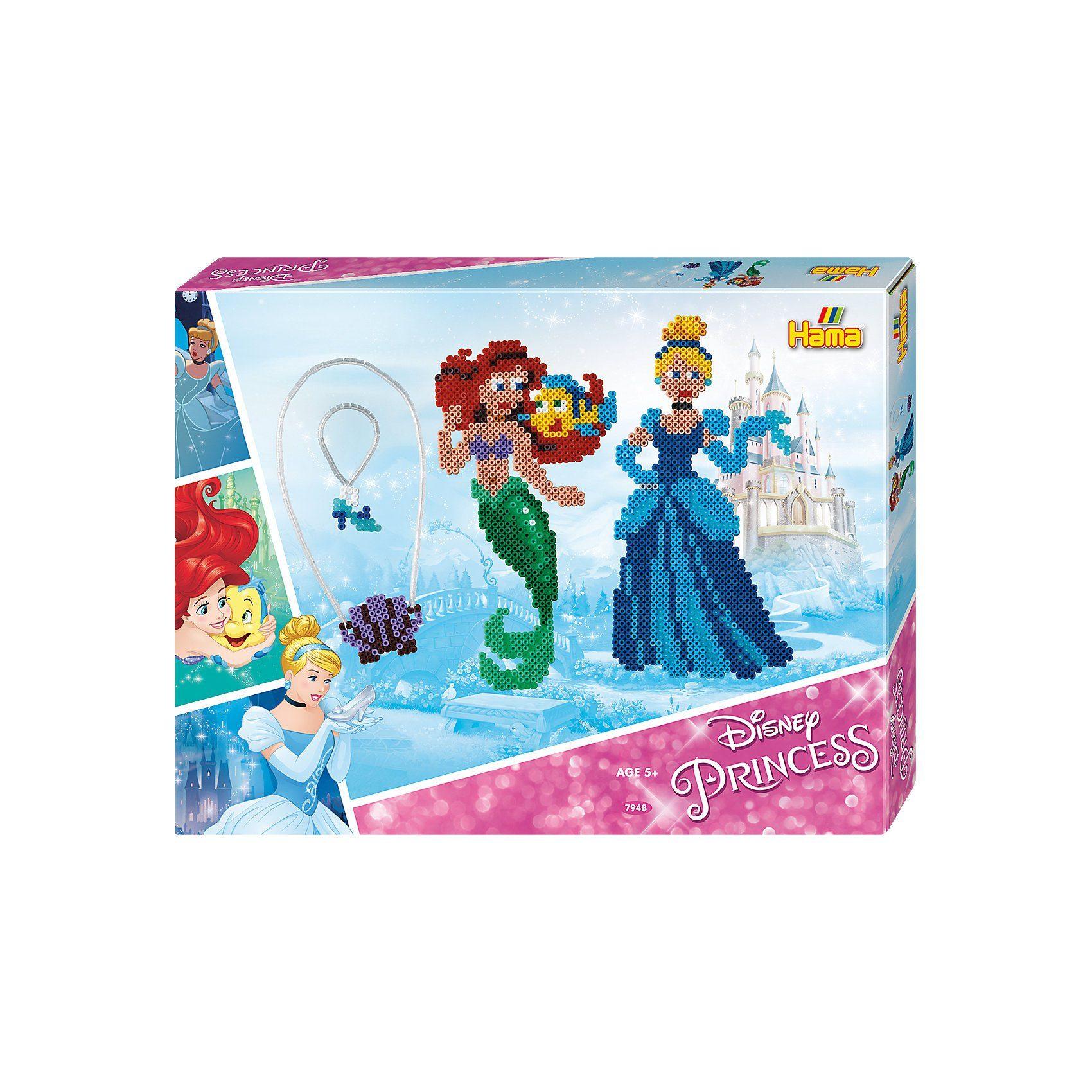 Hama Perlen HAMA 7948 Geschenkset Disney Princess, 4.000 midi-Perlen & Z