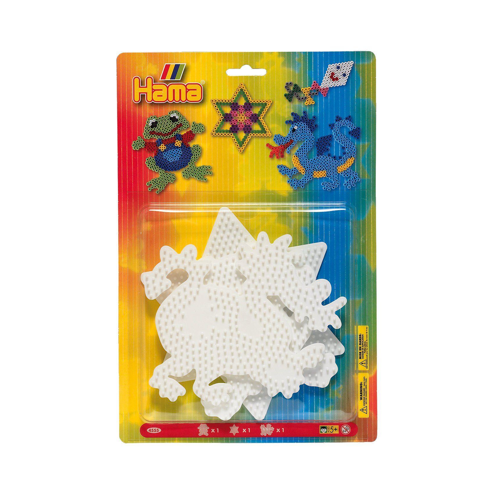 Hama Perlen HAMA 4555 midi-Stiftplatten Frosch, Stern & Drache